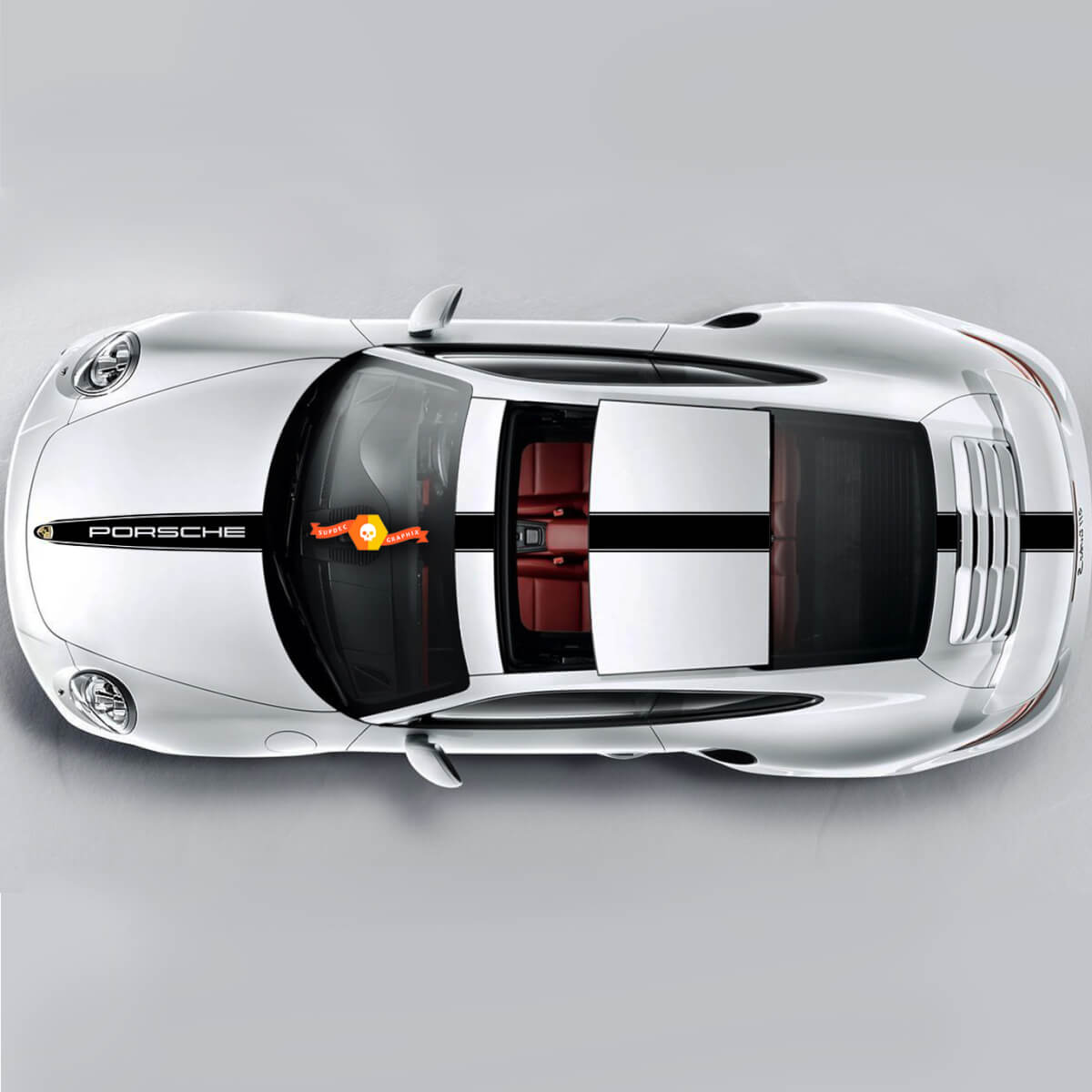 One Color Racing Stripe Over The Top Roof Porsche For Carrera Or Any Porsche