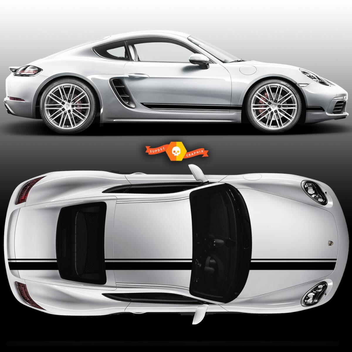 Einfarbiger Rennstreifen über der oberen Dachhaube Seitentür Porsche Für Carrera oder jeden Porsche