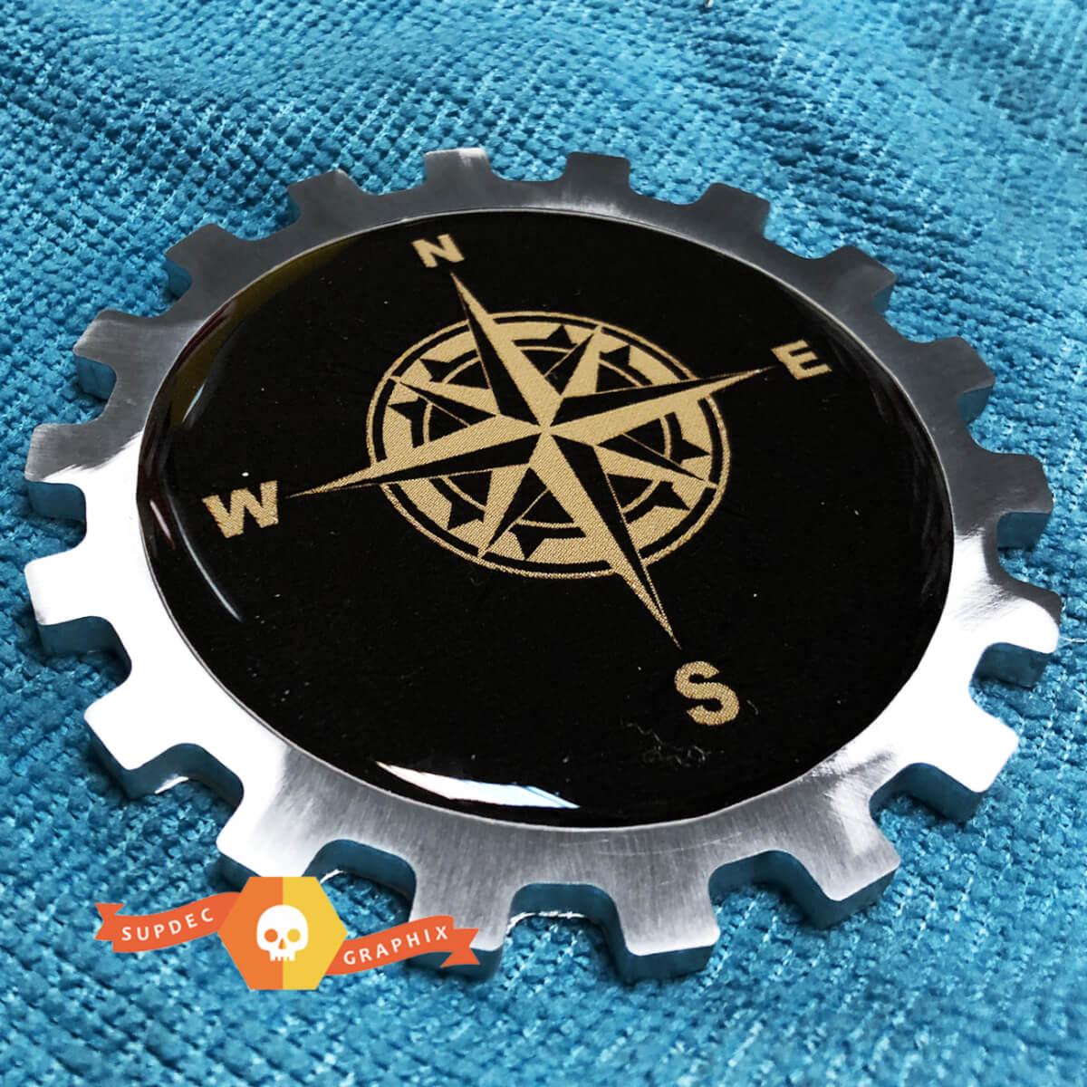 Kompass Metall Aluminium Abzeichen Nacht Emblem Aluminium