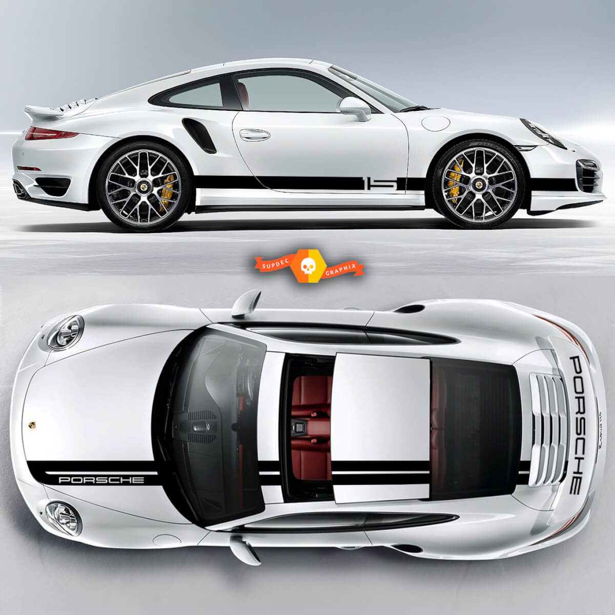 One Color Sport Cup Edition Graphic Decals Kits Racing Stripe Over The Top Roof Porsche And