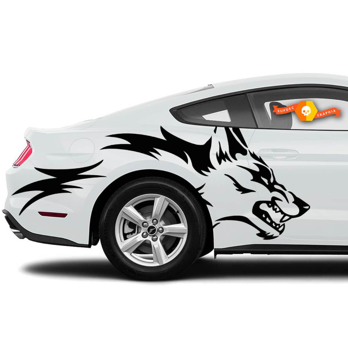 Mustang Ranger Coyote Wolf Grunge Design Stammestür Bett Seite Pickup Fahrzeug LKW Auto Vinyl Grafik Aufkleber Aufkleber
