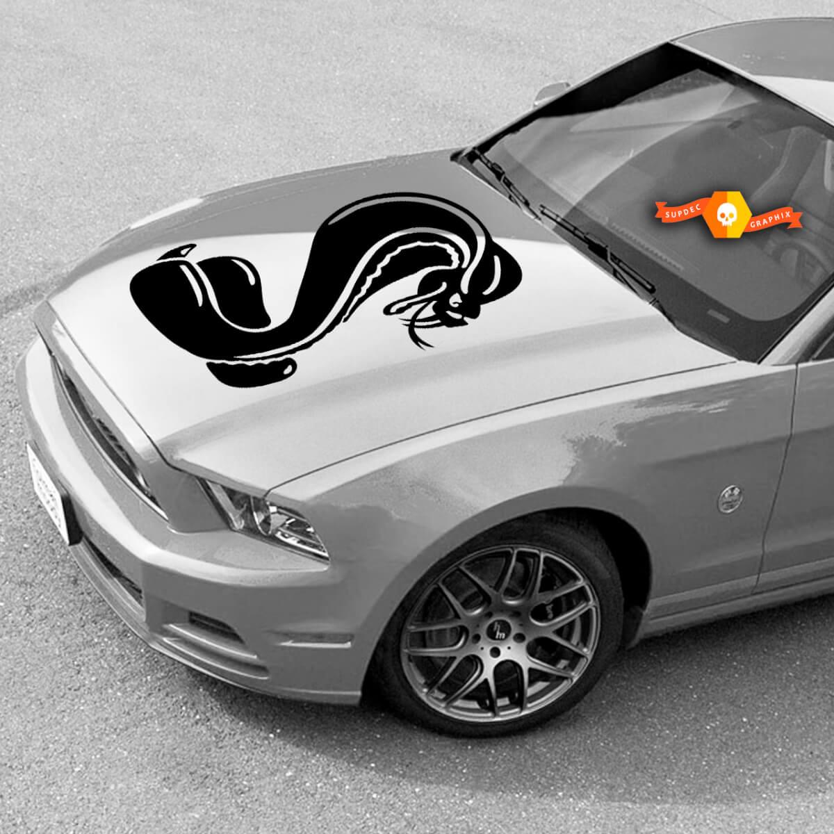 Mustang Cobra Snake Scoop Große Motorhaube Vintage Grunge Hood Tür Auto Bett Pickup Fahrzeug LKW Vinyl Grafik Aufkleber Heckklappe