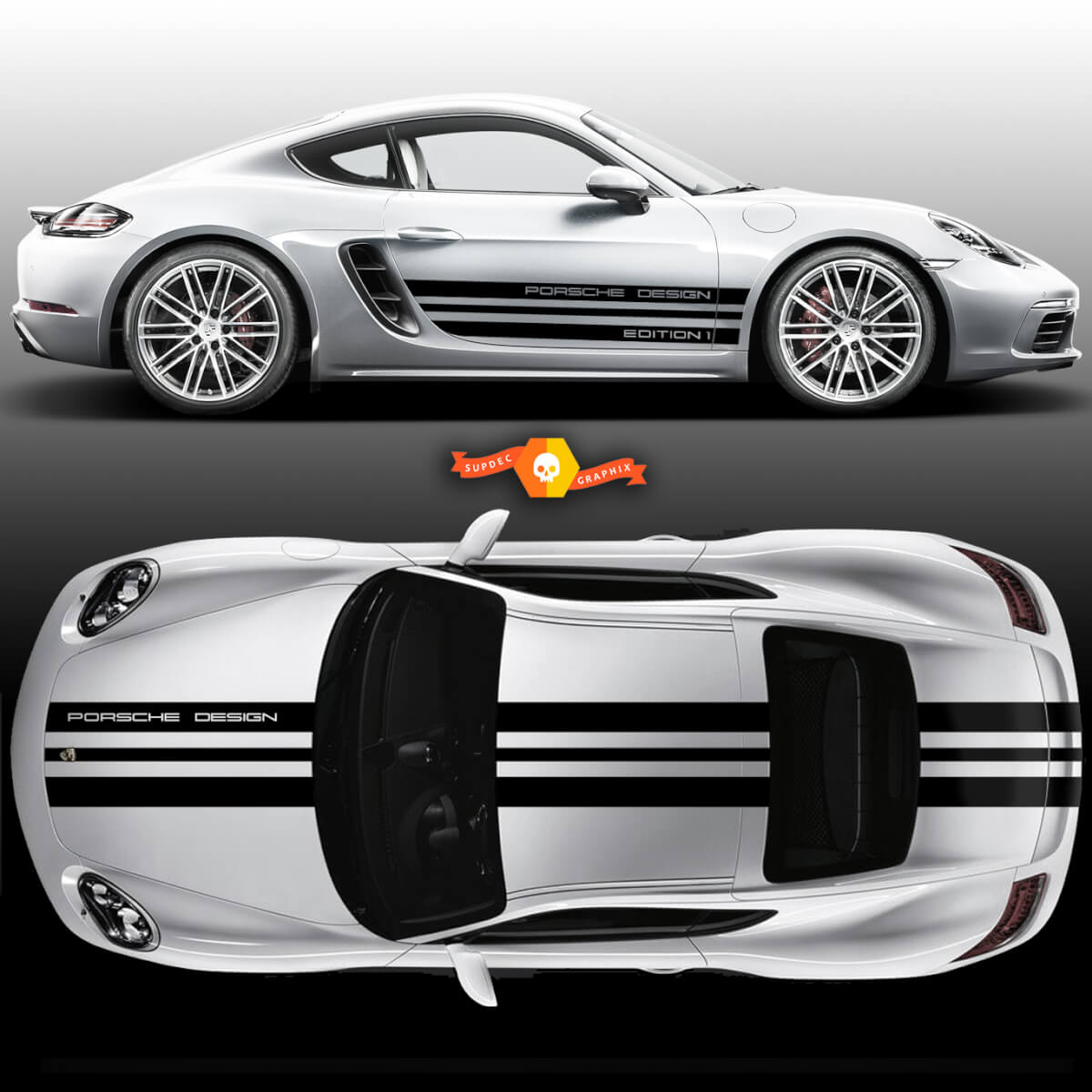 One Color Sport Cup Edition 1 Graphic Decals Kits Racing Stripe Over The Top Roof Porsche