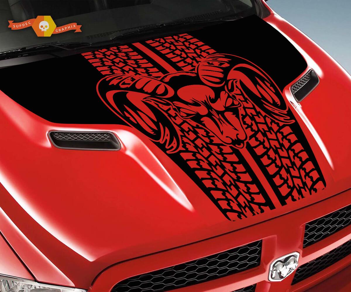 Dodge Ram Reifenspuren Rebel Hood Logo Truck Vinyl Aufkleber Grafik Pick Up Pickup # 2