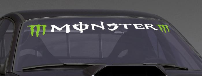 Product M Green Monster Custom VINYL STICKER WINDSHIELD BANNER DECAL - Custom window decals for vehicles