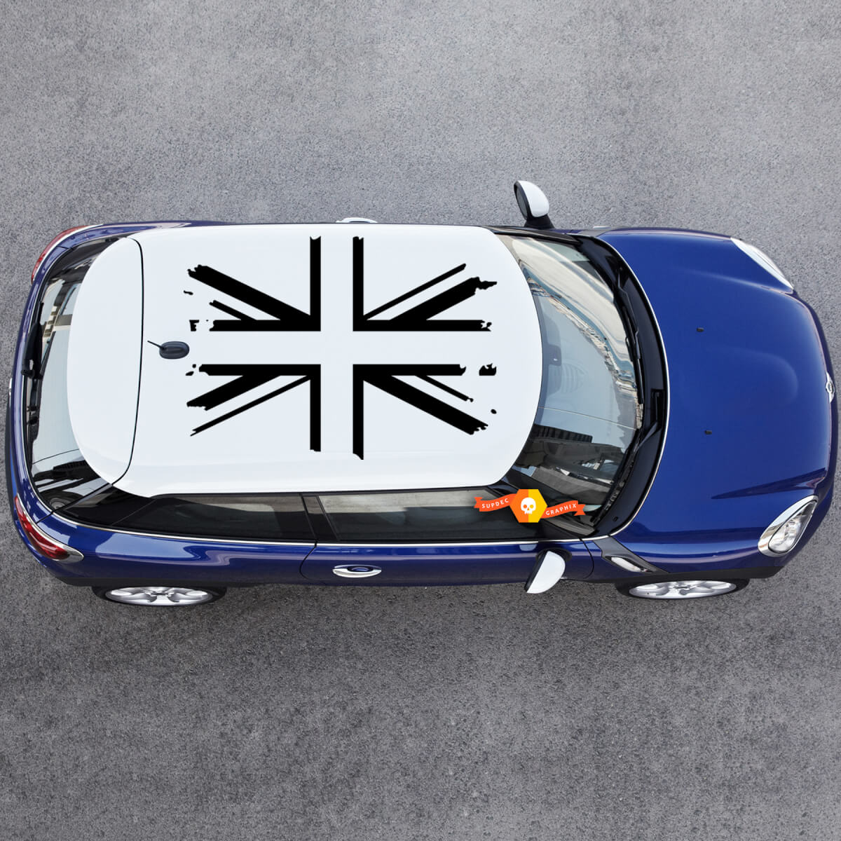 1 roof (4pcs) MINI UK Flag COOPER Roof Decal Graphic Grunge British Flag White