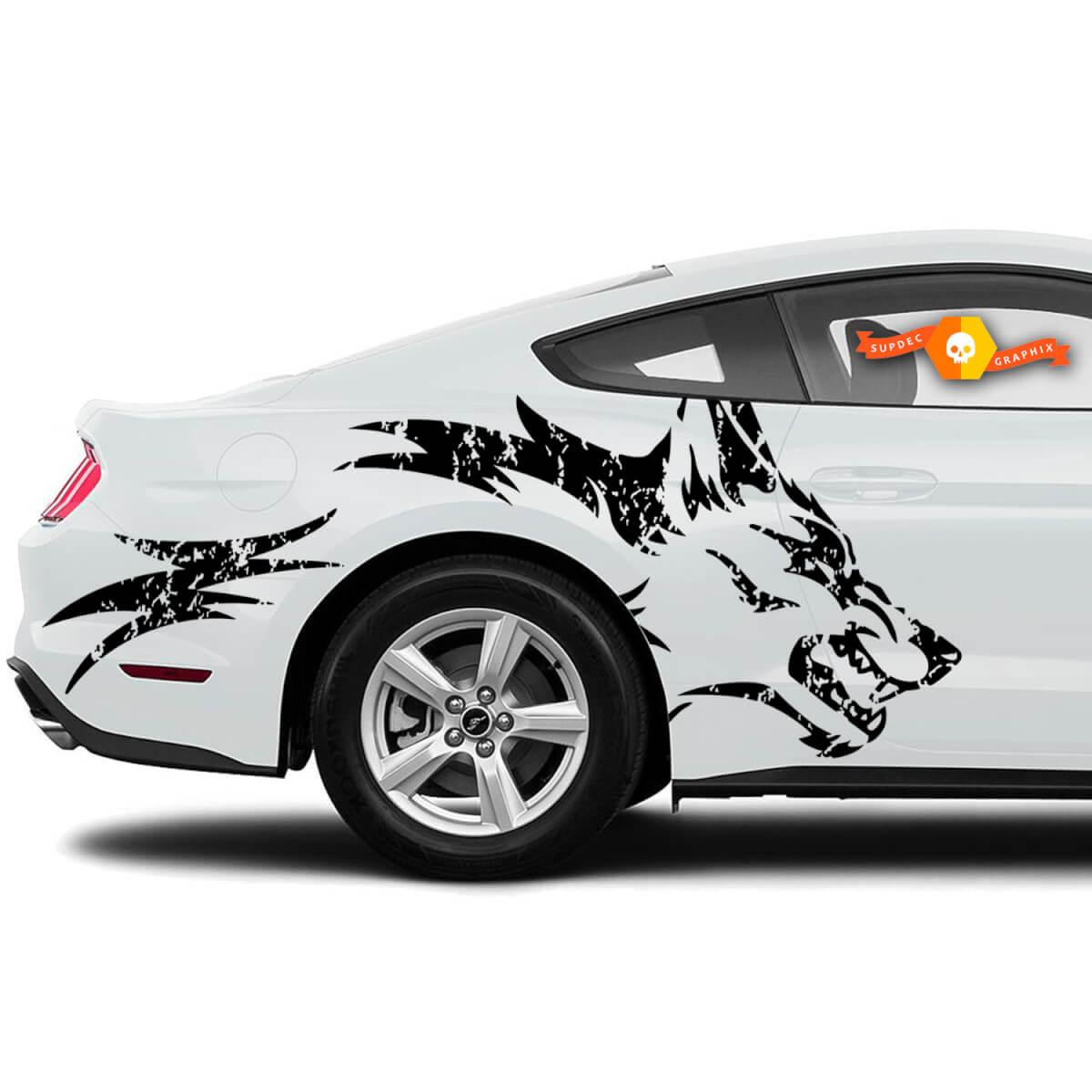 Mustang Ranger Coyote Wolf Distressed Grunge Design Stammestür Bett Seite Pickup Fahrzeug LKW Auto Vinyl Grafik Aufkleber Aufkleber