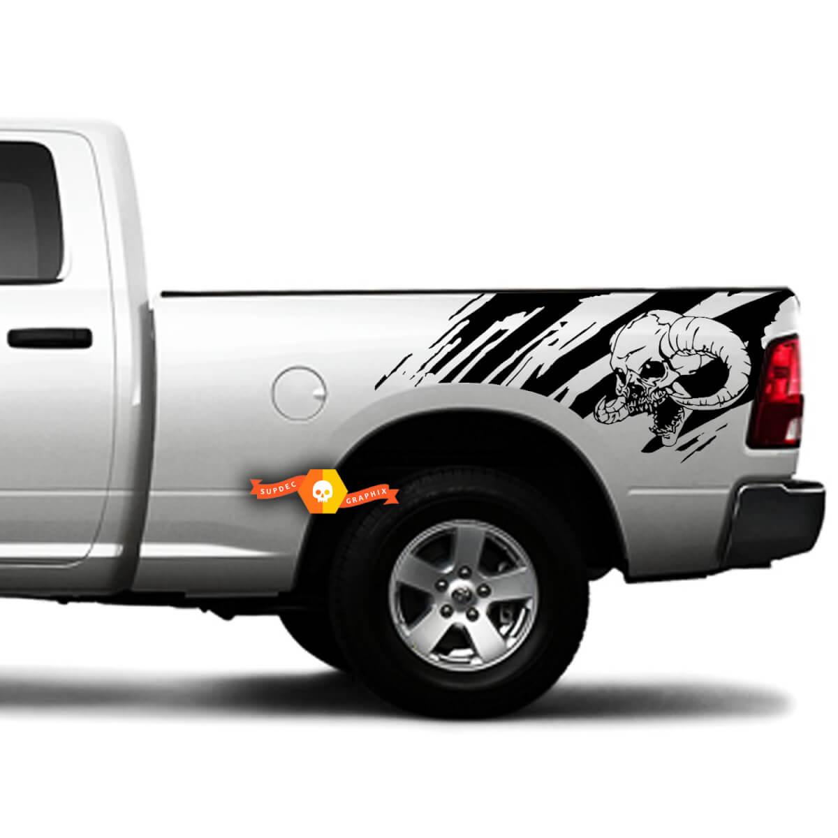 2 Seitenschädel Distressed Grunge Splash Design Auto Seitenbett Pickup Fahrzeug LKW Vinyl Grafik Aufkleber Heckklappe