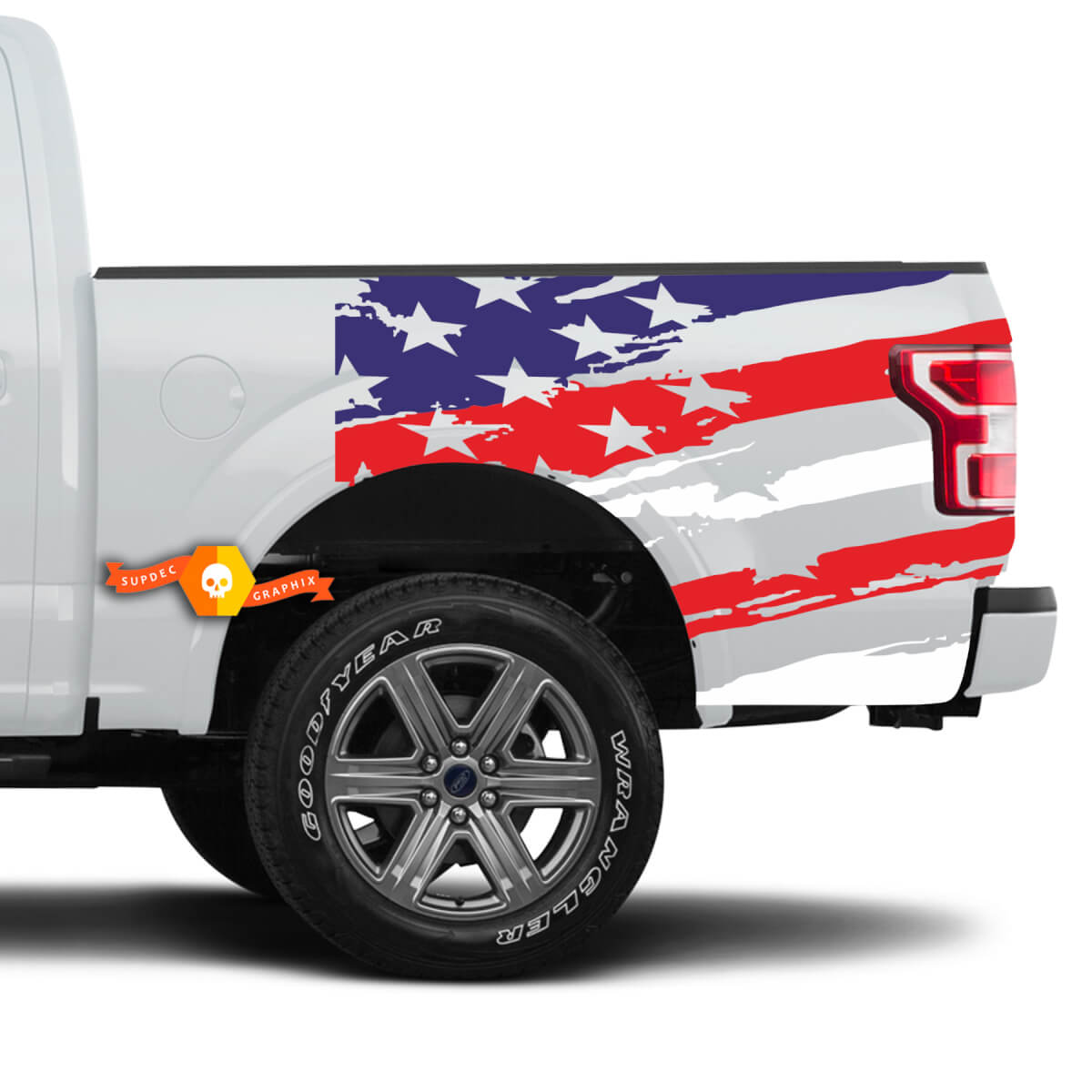 LKW-Ladefläche US-Flagge FARBEN Vinyl Aufkleber