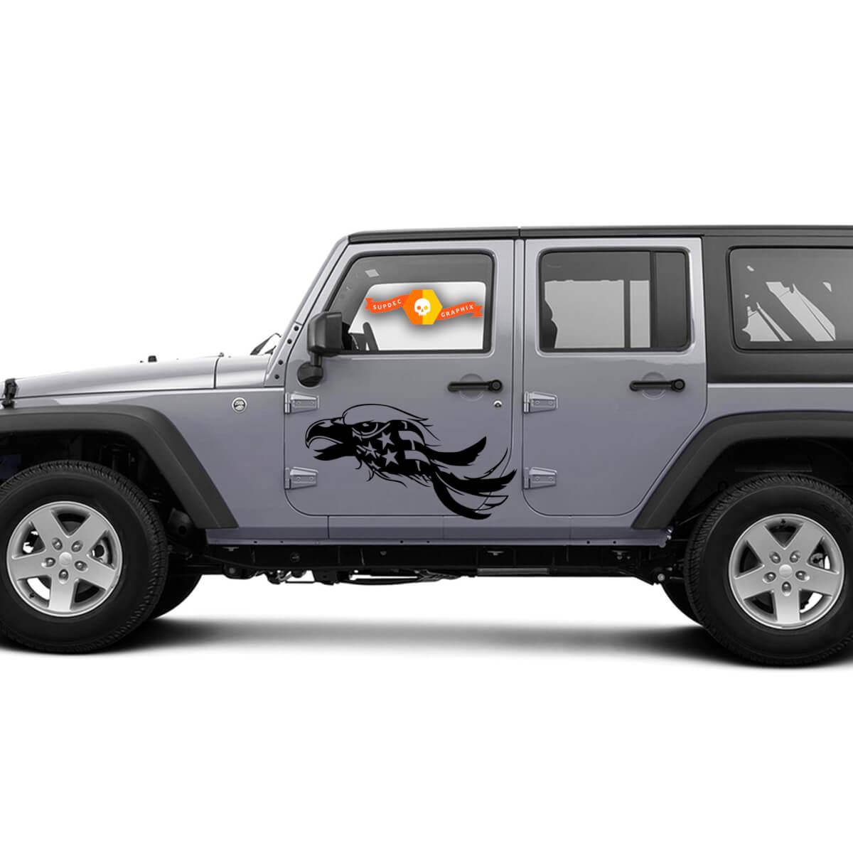 Amerikanische Flagge Adler Distressed Grunge Tür Auto Fahrzeug LKW Vinyl Grafik Aufkleber
