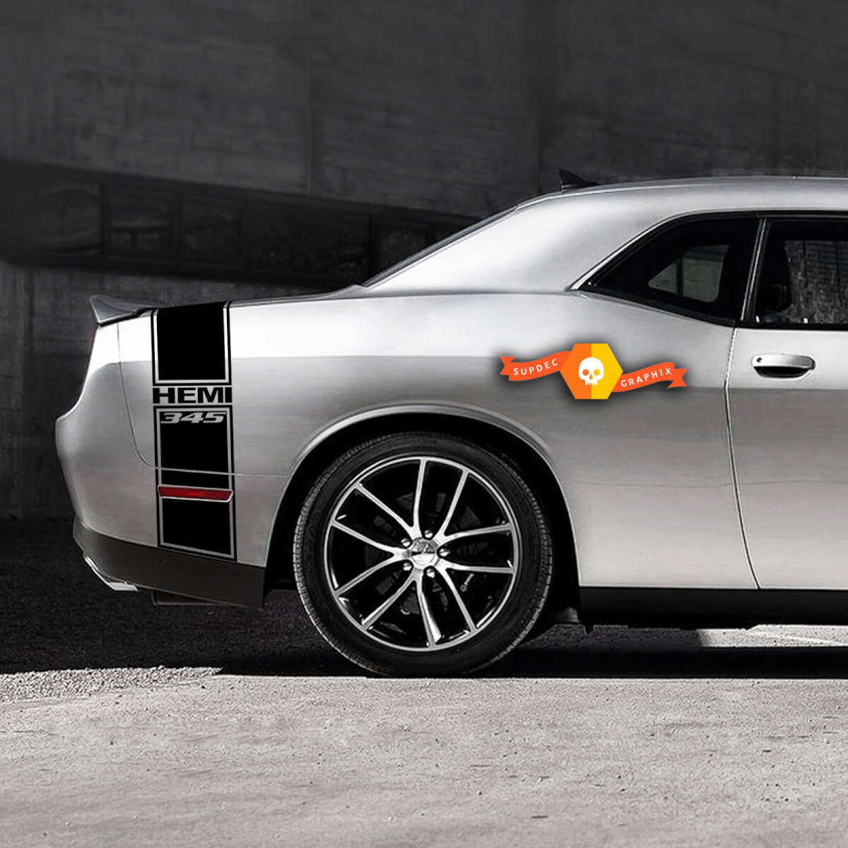 Dodge Challenger Hemi 345 Schwanzband Aufkleber Grafiken passt zu Modellen