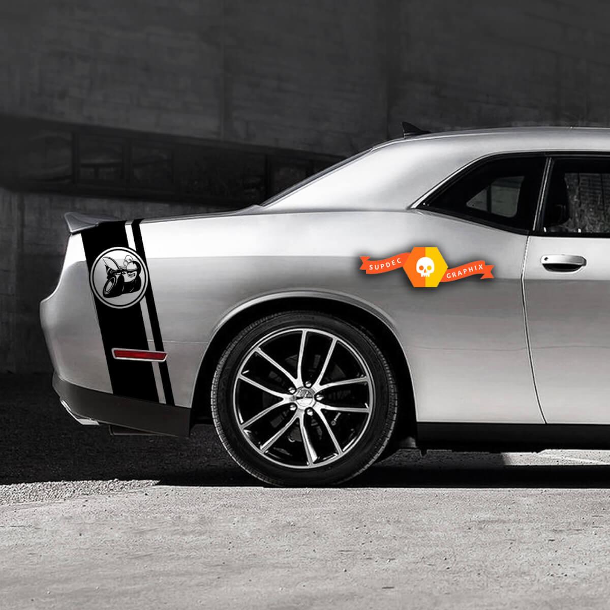 Dodge Challenger Sloped Super Bee Schwanzband Aufkleber Grafik passt zu Modellen