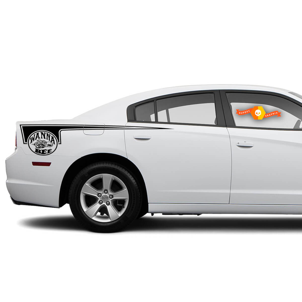Dodge Charger Super Bee Wanna Bee side Hatchet Stripe Decal Sticker graphics fits to models 2011-2014