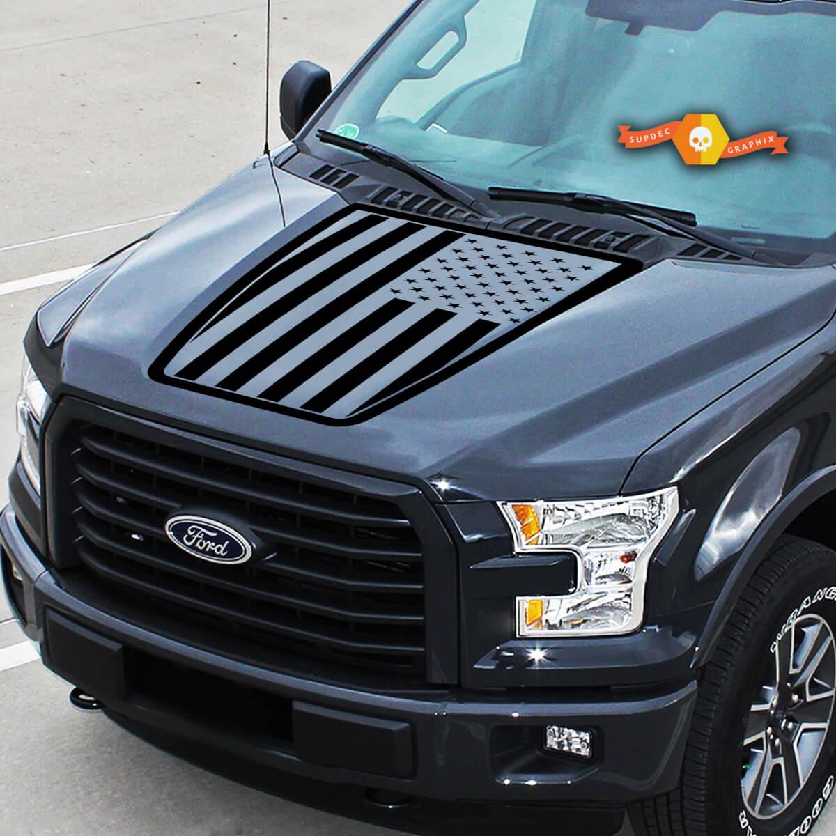 Passend für Ford Flag USA EcoBoost Center Motorhaube Grafikstreifen Vinyl Aufkleber LKW Aufkleber 15-20