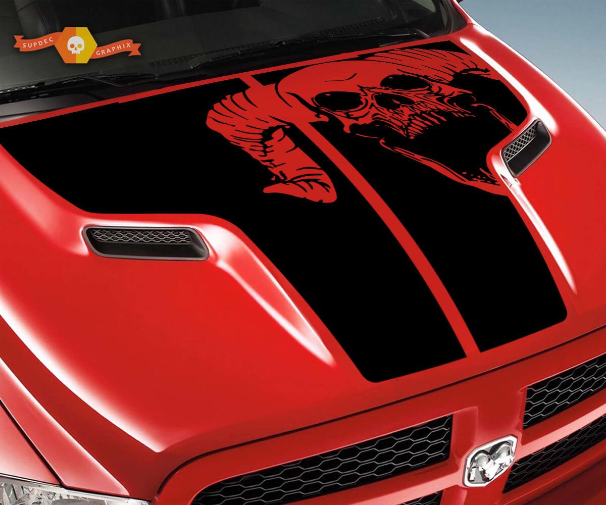 Dodge 2010 2018 passt Ram 1500 2500 Rebel Grunge Rebel Hood Logo Truck Vinyl Aufkleber Grafik Pick Up Pickup