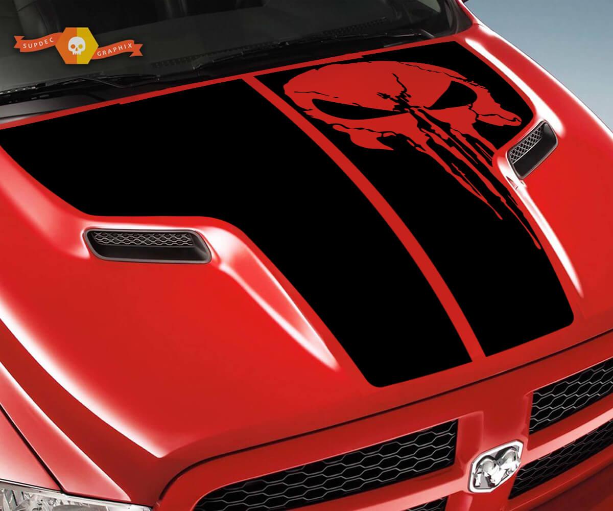 Dodge 2010 2018 passt Ram 1500 2500 Rebel Punisher Schädel Rebel Hood Logo Truck Vinyl Aufkleber Grafik Pick Up Pickup