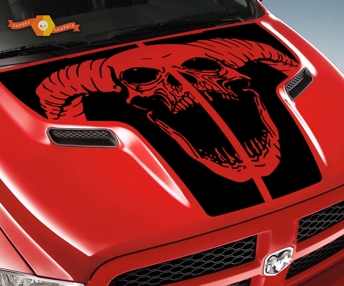 Dodge 2010 2018 fits Ram 1500 2500 Ram Skull Rebel Hood Logo Truck Vinyl Decal Graphic Pick Up Pickup