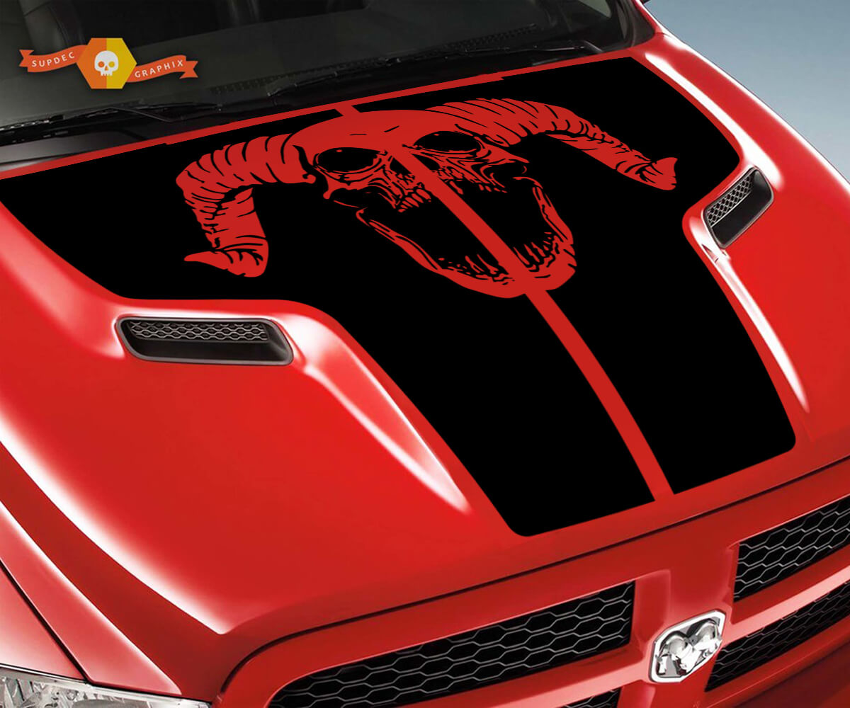 Dodge 2010 2018 passt Ram 1500 2500 Ram Schädel Rebel Hood Logo Truck Vinyl Aufkleber Grafik Pick Up Pickup # 1