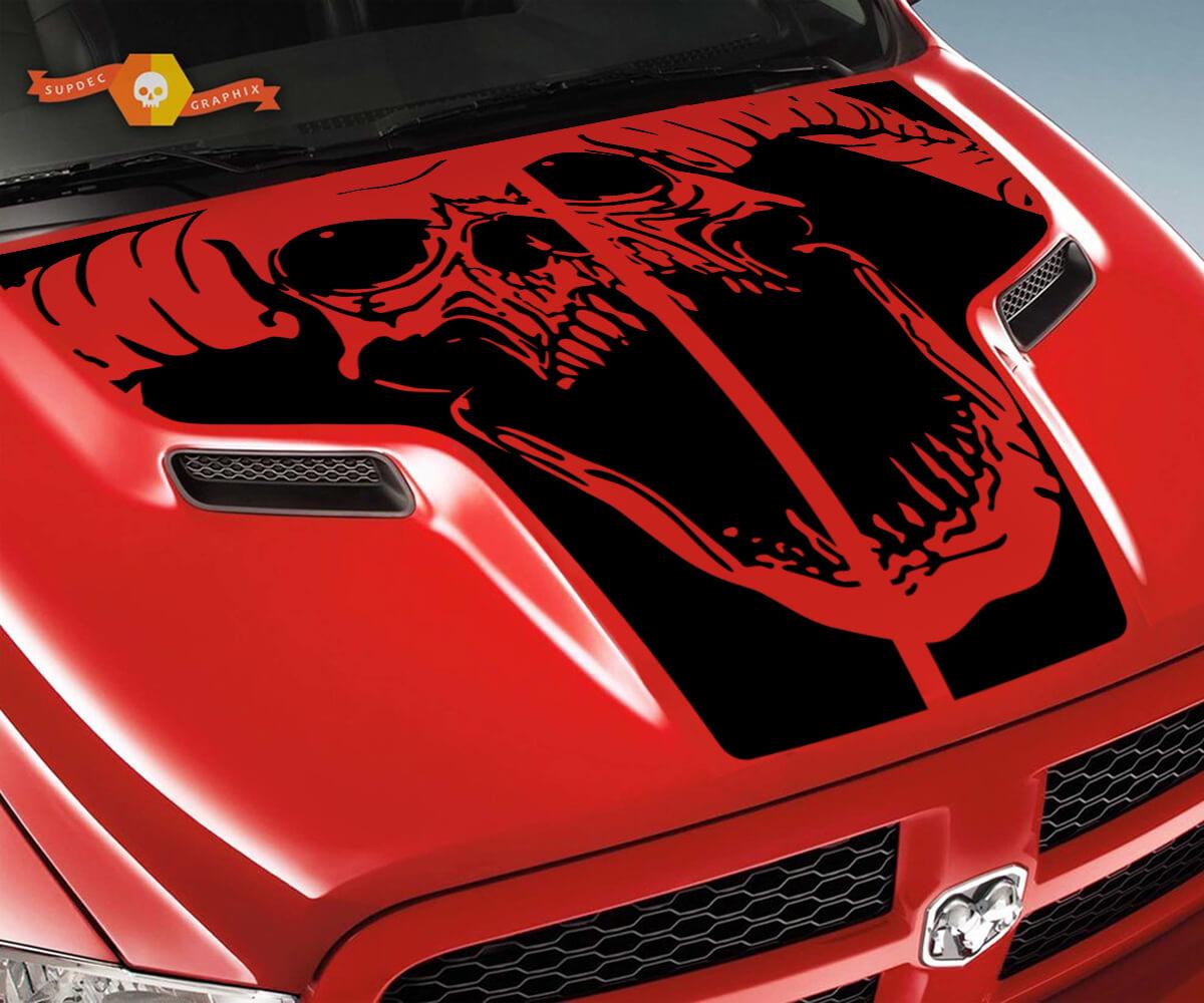 Dodge 2010 2018 passt Ram 1500 2500 Ram Schädel Rebel Hood Logo Truck Vinyl Aufkleber Grafik Pick Up Pickup # 2