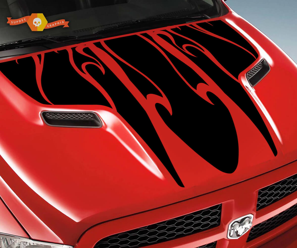 Dodge 2010 2018 fits Ram 1500 2500 Flames Rebel Hood Logo Truck Vinyl Decal Graphic Pick Up Pickup #2
