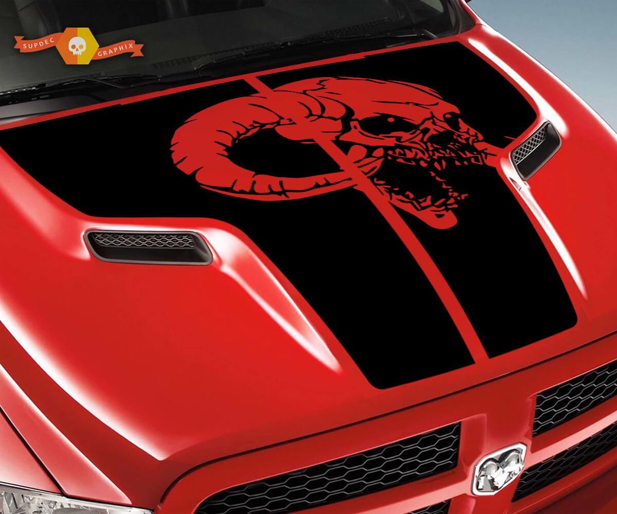 Dodge 2010 2018 passt Ram 1500 2500 Ram Schädel Grunge Hood Logo Truck Vinyl Aufkleber Grafik Pick Up Pickup # 3
