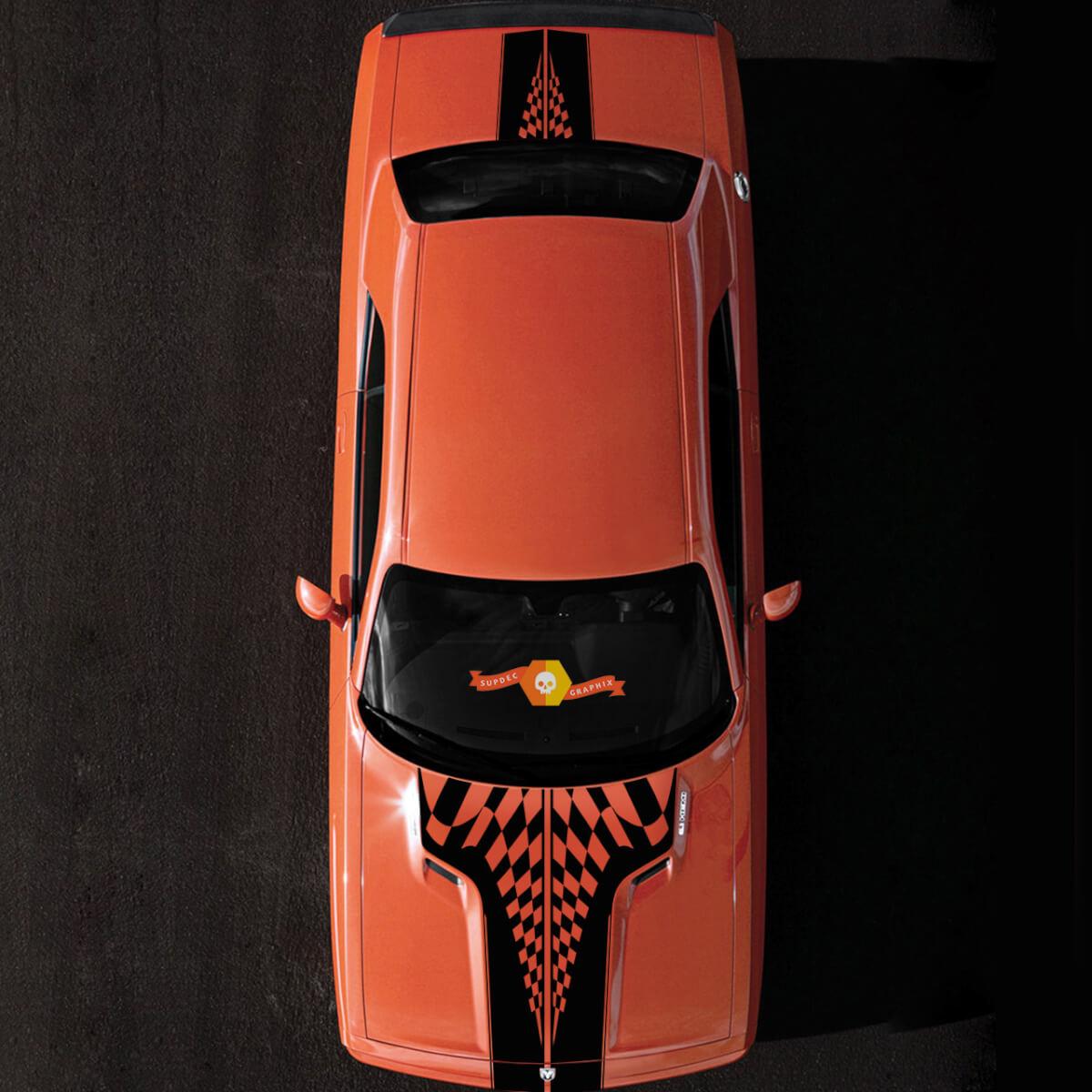 2008-2014 Challenger Race Karierte Flagge Rennhaube & Heck Sport Design Tribal Vehicle Truck Vinyl Grafik Aufkleber Aufkleber