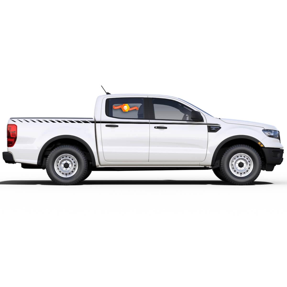 2X UpRoar-Streifen für Ford Ranger-Grafik-Aufkleber 2019 - 2020