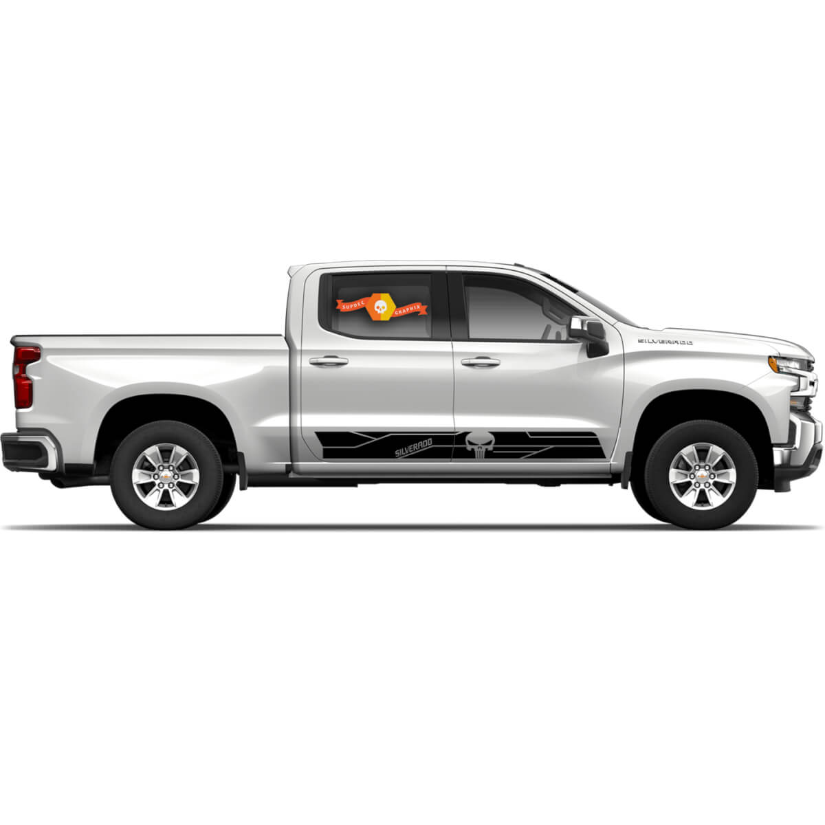 2 x Chevy Chevrolet Silverado Punisher Skull Vinyl Decal Sticker Graphics Side Door