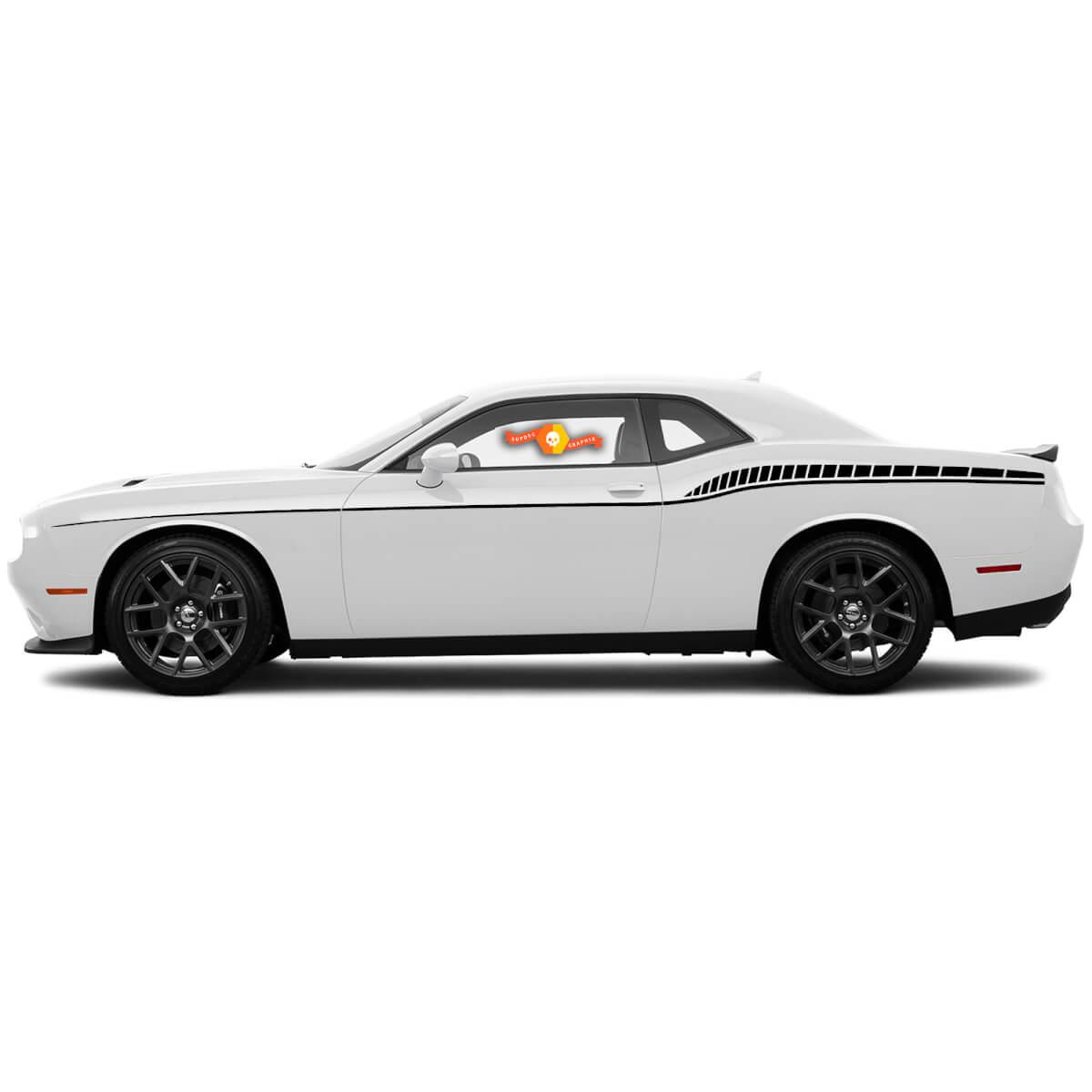 Für 2015-2019 Dodge Challenger Seitenstreifen Heckakzent Strobe Bodyline Decals
