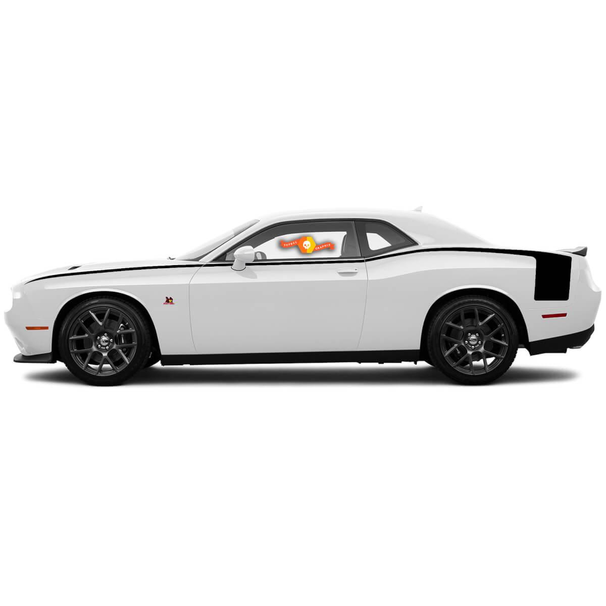 Dodge Challenger Akzent Hockey Style Body Line Rückseite Seitenstreifen Für 2008-2014