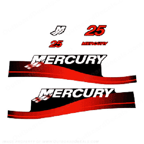 Mercury 25hp Decals (Red) 1999 - 2006 - Blue Sticker Decal