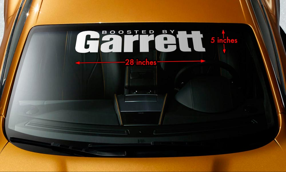 BOOSTED BY GARRETT TURBO Windshield Banner Vinyl Decal Sticker 28