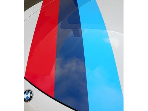 Dreifarbiger Streifenhaubenaufkleber BMW Motorsport M3 M5 M6 X5 E30 E36
