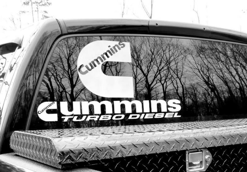 Decals stickers for cummins turbo diesel power ram rear window 4x4 vinyl