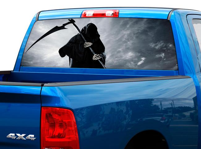 Product Death Skull Rear Window Decal Sticker Pickup Truck SUV Car - Rear window decals for vehicles