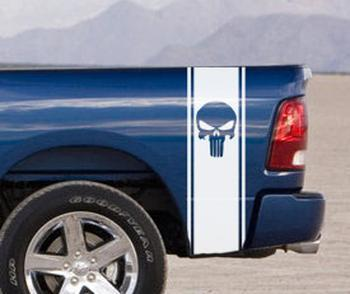2 Dodge Ram Truck SKULL HUGE BEDSTRIPE BED STRIPE Vinyl Decal