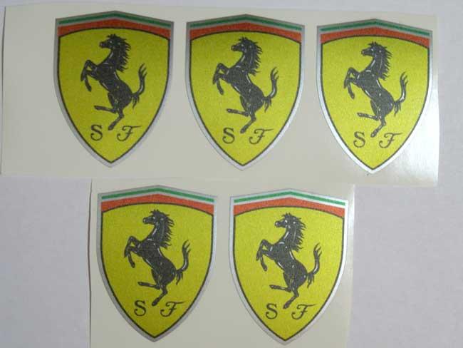 Ferrari Enzo Wheel Caps Center Gelb auf Silber 5 Emblems Decals