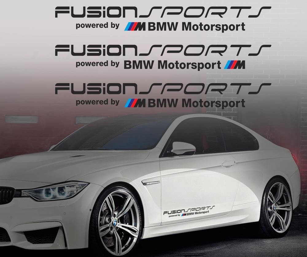 product fusion sports powered by bmw m motorsport vinyl decal sticker e36 m3 m5 m6 m any. Black Bedroom Furniture Sets. Home Design Ideas