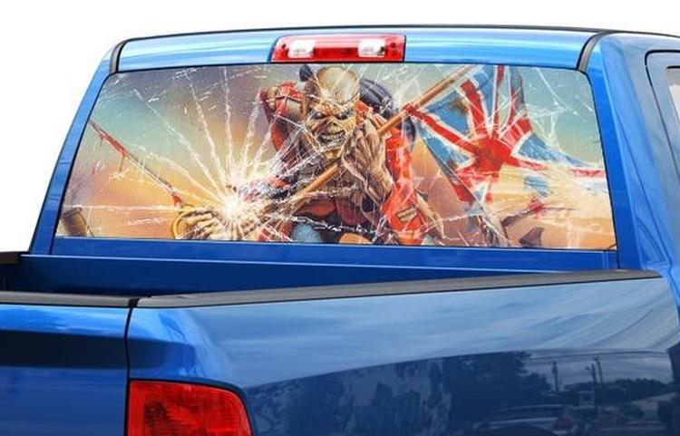 Iron maiden eddie broken glass rear window decal sticker pick up truck suv car