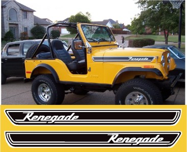 Jeep Wrangler Renegade >> Jeep Cj7 Cj5 Yj Tj Jk Renegade Hood Cowl Stripe Decal Sticker