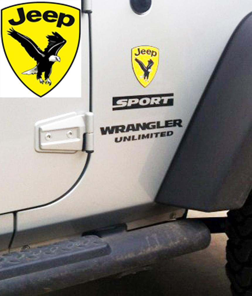 Jeep wrangler rubicon bald eagle cj yk jk vinyl sticker decal