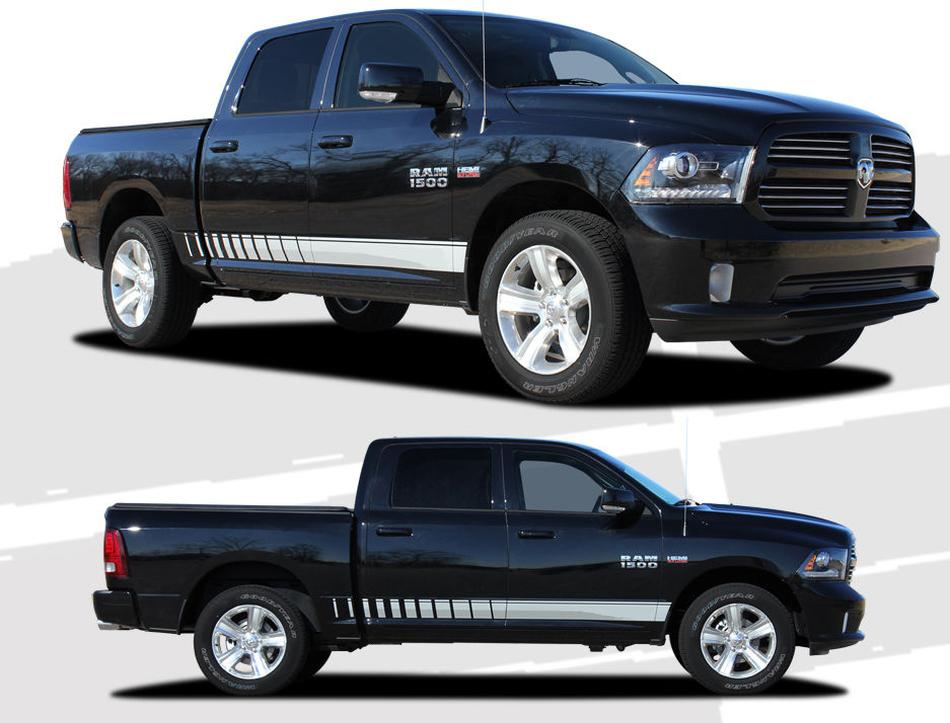 Product lower rocker panel strobe stripes avery vinyl graphic decals 2008 2015 dodge ram 2500 1500