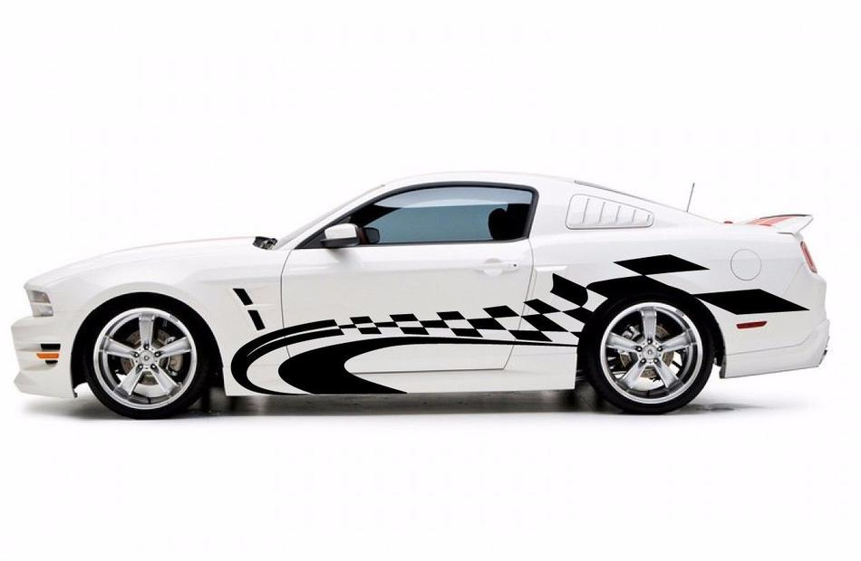 Racing Checkered Graphic Stripe Decal Car Van Truck Vehicle Suv Ford Mustang