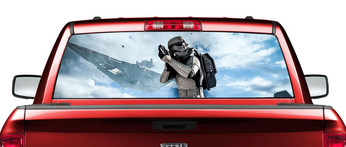 Amazing star wars movies rear window decal sticker pickup truck suv car with truck window decals