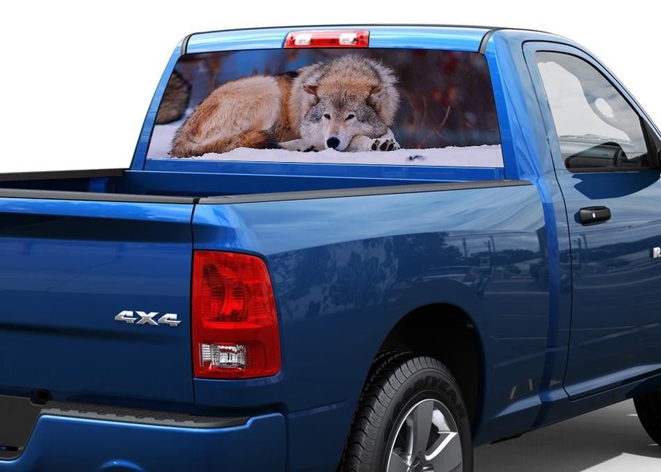 Wolf snow forest Rear Window Decal Sticker Pick-up Truck SUV Car