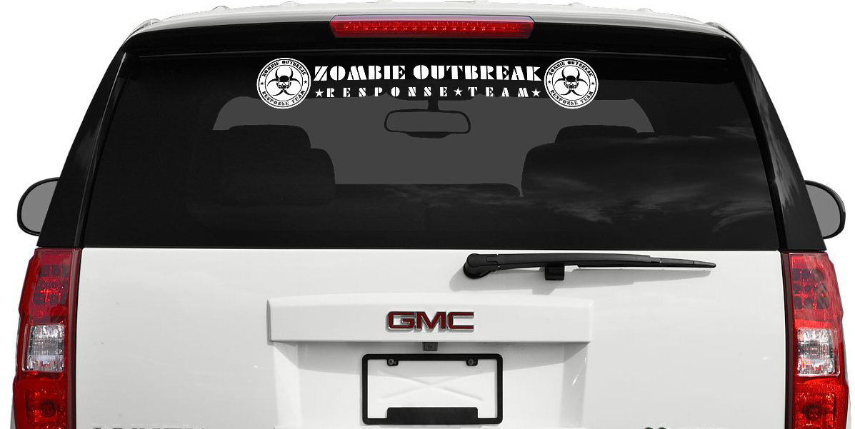 Zombie Outbreak Response Team Logo Skull Biohazard Windshield Car Vinyl Banner Sticker Decal