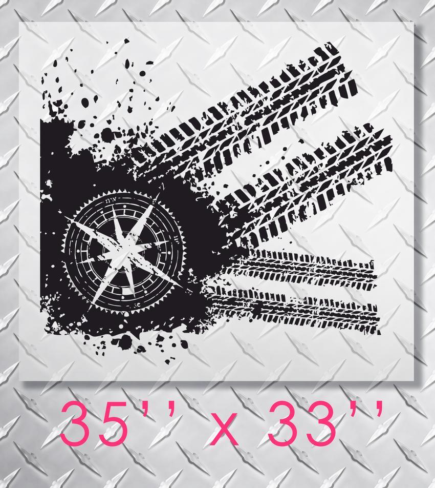 Product Jeep Wrangler Compass Tire Tracks Hood Decal Sticker