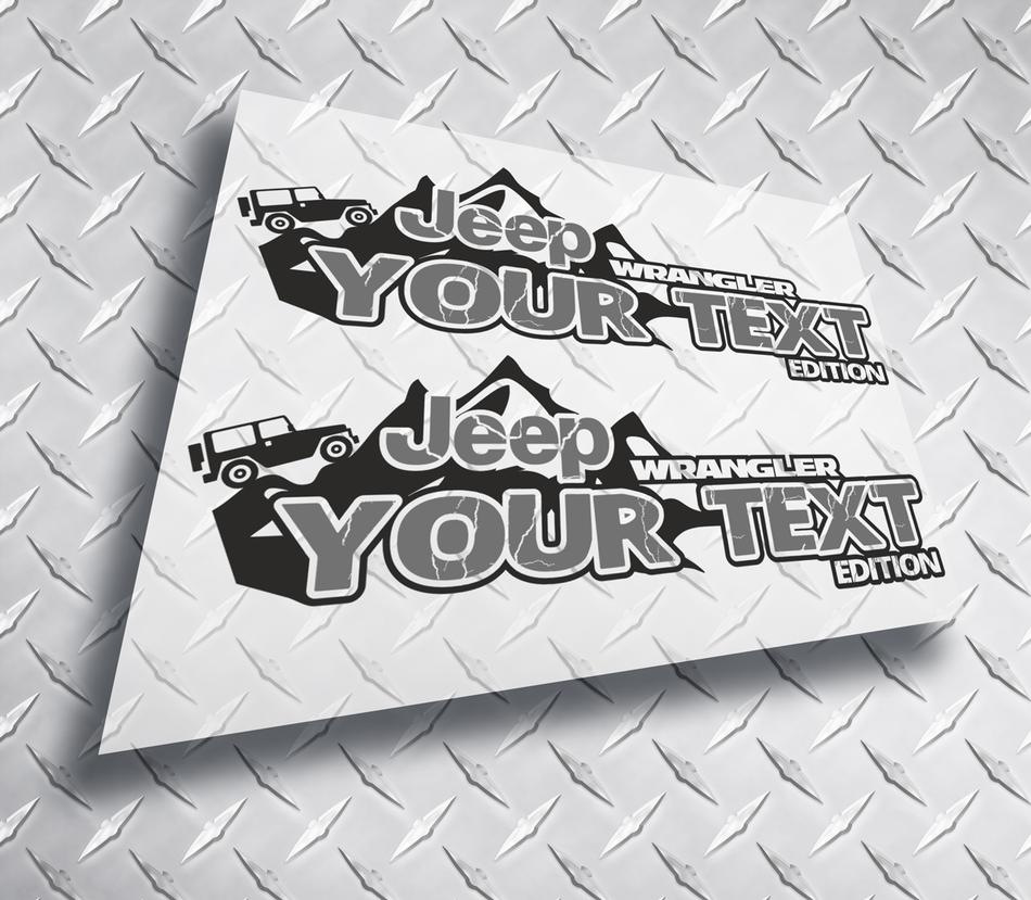 Product Pair 2x Jeep Wrangler Edition Your Text Mountains