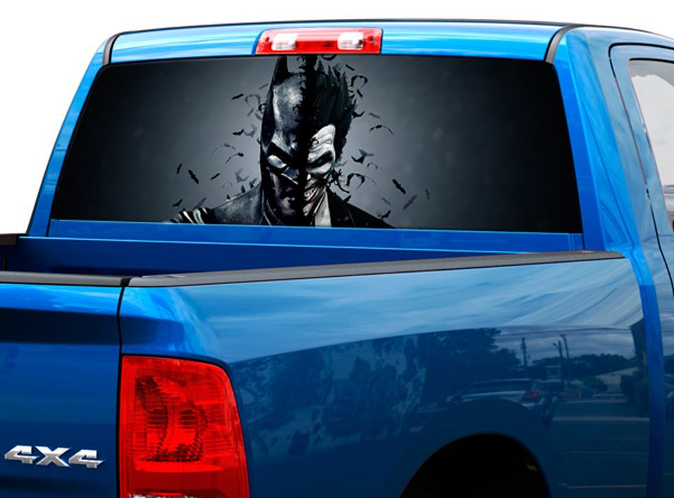 Batman vs joker art movies rear window decal sticker pick up truck suv car