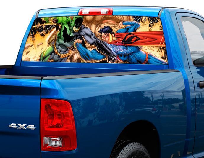 Batman vs superman art rear window decal sticker pick up truck suv car 2